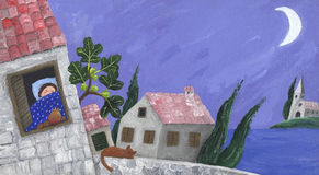 Mediterranean scene. Acrylic Illustration of Mediterranean scene Royalty Free Stock Photos