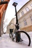 Mediterranean scene. Bike in snow at a mediterranean scene Stock Photos