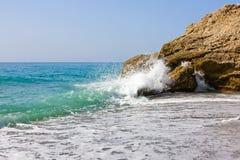 Mediterranean sea. Beach on Mediterranean sea coast in Nerja, Spain Royalty Free Stock Photo
