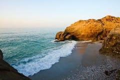 Mediterranean sea. Beach on Mediterranean sea coast in Nerja, Spain Royalty Free Stock Images