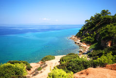 Mediterranean Sea. Scenic landscape overlooking the Mediterranean Sea at Kassandra, Chalkidiki Stock Photos