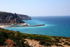 Mediterranean sea. Landscape of the port of Buggerru sardegna Italy seascape crystalline water royalty free stock image