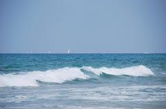 Mediterranean sea. Waves running on sandy coast of Mediterranean sea Royalty Free Stock Photos
