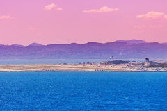 Mediterranean sea and airport of Nice. View of Mediterranean seas and airport of Nice, France royalty free stock photo