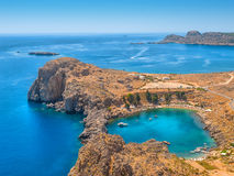 Mediterranean sea from ancient Lindos ruins Stock Photo