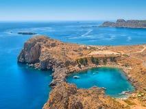 Mediterranean sea from ancient Lindos ruins stock photo