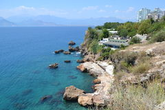 Mediterranean sea and Antalia shore Royalty Free Stock Images
