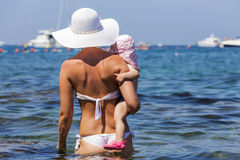 The Mediterranean Sea bathes the mother of his daughter. Royalty Free Stock Images
