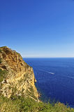 Mediterranean sea bay near Cassis, Provence view from high rock Royalty Free Stock Photos
