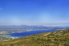Mediterranean sea bay and view to Cassis, Provence view from mou Royalty Free Stock Photo
