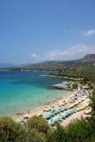 Mediterranean sea beach in Greece Stock Images