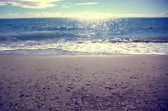 Mediterranean Sea beach. Lido di Ostia beach, Rome Italy Royalty Free Stock Photo