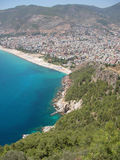 Mediterranean sea, beach and mountains at Alanya (Turkey) royalty free stock image