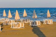 Mediterranean sea beach umbrellas Larnaca Cyprus Stock Images
