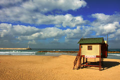 Mediterranean Sea beach under the cloudy sky. Stock Images