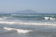 Mediterranean Sea with blue summer wave background. Beautiful water nature. Sea waves on beach. Stock Photography