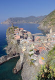 Mediterranean sea coast. Vernazza village in Cinque Terre, Italy Royalty Free Stock Photos