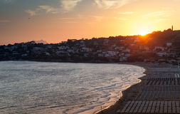 Mediterranean Sea coast landscape at sunset Stock Photography