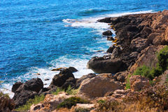 Mediterranean sea coast. Near Paphos, Cyprus stock photography