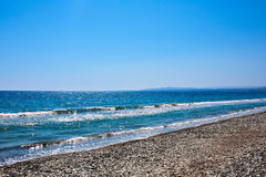 Mediterranean sea coast with pebbels. Stone beach stock photos