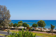 Mediterranean sea coast. With road in Limassol, Cyprus royalty free stock images