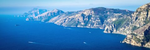 Mediterranean sea and coast of Sorrentine Peninsula. Panoramic Image, banner royalty free stock image
