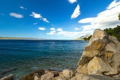 Mediterranean sea coast at a sunny day Stock Images