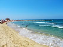 Mediterranean Sea on the coast of Tel Aviv. Beaches of the largest city in Israel. Summer of 2018 stock images