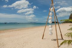 Empty sandy beach. Mediterranean sea coast under cloudy sky, natural background photo Stock Image