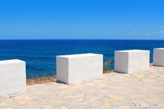 Mediterranean sea coastal view white milestones Stock Photography