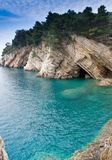 Cliff under the water. Mediterranean sea cost. Cliff under the water. Petrovac, Montenegro Stock Image