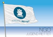 MEDITERRANEAN SEA, EUROPE, YEAR 2017 - Flag of Jugend Rettet, International Non-Governmental Organization Stock Images