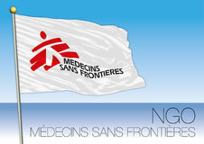 MEDITERRANEAN SEA, EUROPE, YEAR 2017 - Flag of Médecins Sans Frontières, NGO organization. Medecins Sans Frontieres, NGO, flag and symbol Stock Photos