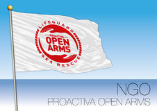 MEDITERRANEAN SEA, EUROPE, YEAR 2017 - Flag of Proactiva Open Arms, NGO organization. Proactiva Open Arms, NGO, flag and symbol Stock Image