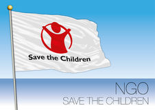 MEDITERRANEAN SEA, EUROPE, YEAR 2017 - Flag of Save The Children, NGO organization. Save The Children, NGO, flag and symbol Royalty Free Stock Images