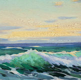 Mediterranean sea in evening, decline. Mediterranean sea, wave, illustration, painting by oil on a canvas royalty free illustration