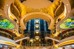 Mediterranean sea, Greece - 16.10.2018: Interior of Atrium of Cruise Ship Norwegian Star with people during a cruise to. Mediterranean sea, Greece - 16.10.2018 stock photos