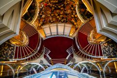 Mediterranean sea, Greece - 16.10.2018: Interior of Atrium of Cruise Ship Norwegian Star with people during a cruise to. Mediterranean sea, Greece - 16.10.2018 stock images