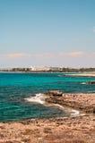 Mediterranean sea and hotel resort in Aya Napa Royalty Free Stock Photos