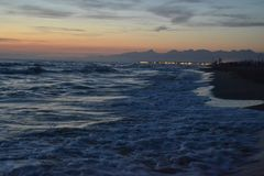 Mediterranean Sea in italy in the evening. Waves Royalty Free Stock Photo