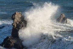 Mediterranean sea. Italy. Splashing waves against rocks Stock Photo