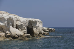 Cave in white rocks near Governor`s beach; Cyprus. Sea landscape Royalty Free Stock Images