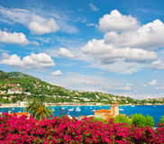 Mediterranean sea landscape with cloudy blue sky. French riviera Royalty Free Stock Photography