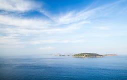 Mediterranean sea landscape with Procida island  Royalty Free Stock Photos