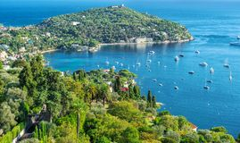 Mediterranean sea French riviera Summer holidays background. Mediterranean sea landscape. Villefranche by Nice, French riviera. Summer holidays background Royalty Free Stock Photography