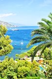 Mediterranean sea landscape Summer holidays background. Mediterranean sea landscape. Villefranche by Nice, French riviera. Summer holidays background Royalty Free Stock Images