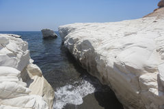 Mediterranean sea landscape. White rocks near Governor`s beach; Royalty Free Stock Photo