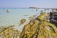 Mediterranean Sea landscape. White sandy Nissi Beach, Cyprus, Ay Royalty Free Stock Photography