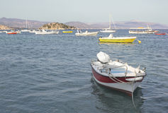 Mediterranean Sea and Mountains with boats Stock Photos