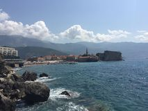 Mediterranean sea. Old town Budva, Montenegro. royalty free stock photos